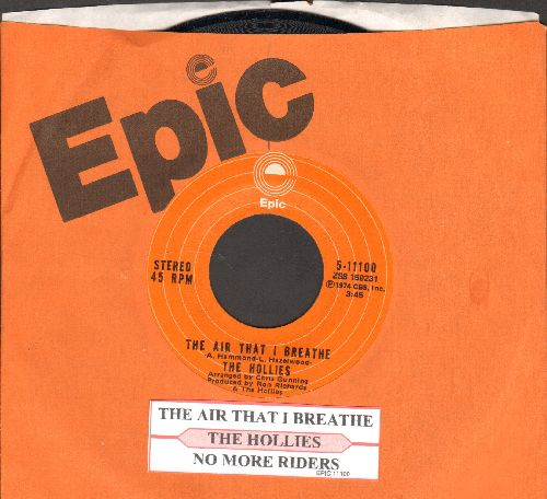 Hollies - The Air That I Breathe/No More Riders (with juke box label and Epic company sleeve) - NM9/ - 45 rpm Records