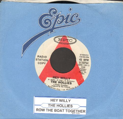 Hollies - Hey Willy/Row The Boat Together (DJ advance pressing with juke box label and Epic company sleeve) - NM9/ - 45 rpm Records
