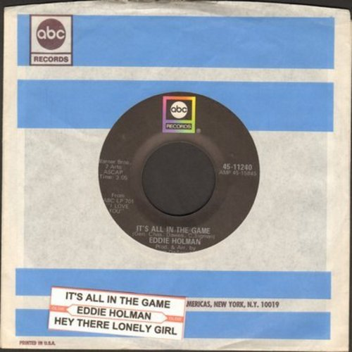 Holman, Eddie - It's All In The Game/Hey There Lonely Girl (with ABC company sleeve) - VG7/ - 45 rpm Records