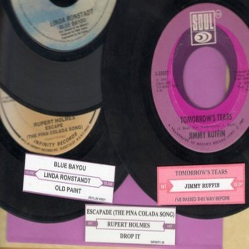 Ruffin, Jimmy, Linda Ronstadt, Rupert Holmes - Juke Box Trio #1212: First issues in very good or better condition, includes hits Tomorrow's Tears, Blue Bayou, Escapade (The Pina Colada Song). With customized juke box labels, great set for a Juke Box! - VG