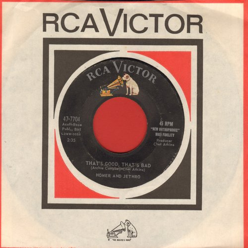 Homer & Jethro - That's Good, That's Bad/El Paso Numero Dos (with vintage RCA company sleeve) - VG7/ - 45 rpm Records