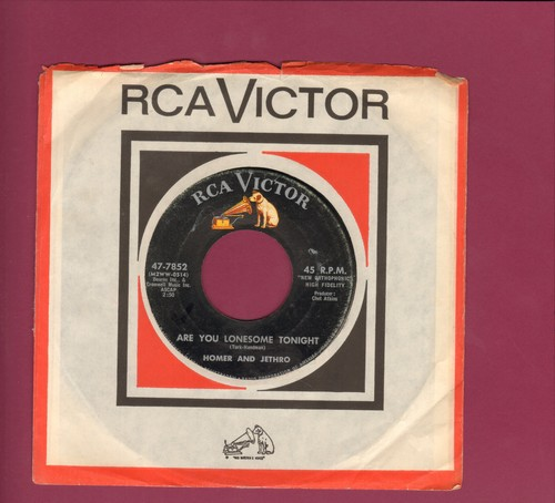 Homer & Jethro - Are You Lonesome Tonight/I Love Your Pizza (with RCA company sleeve) - EX8/ - 45 rpm Records