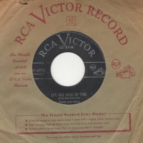 Homer & Jethro - Li'l Ole Kiss Of Fire/I'm Yours (with vintage RCA company sleeve) - VG6/ - 45 rpm Records