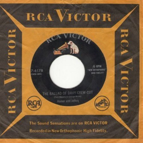 Homer & Jethro - The Ballad Of Davy Crew-Cut/Homer & Jethro's Pickin' And Singin' Medley No. 1 (with vintage RCA company sleeve) - VG7/ - 45 rpm Records