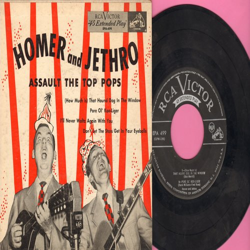 Homer & Jethro - Homer & Jethro Assault The Top Pops: How Much Is That Hound Dog In The Window/I'll Never Waltz Again With You/Pore Ol' Koo-Liger/Don't Let The Stars Get In Your Eyeballs (with picture cover) - VG7/VG7 - 45 rpm Records