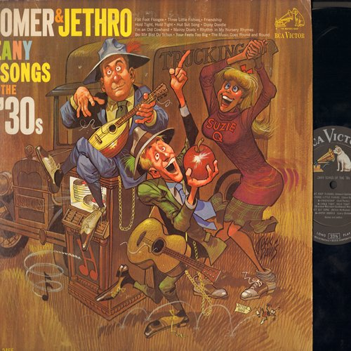 Homer & Jethro - Zany Songs Of The '30s: Three Little Fishies, I'm An Old Cowhand, Bei Mir Bist Du Schoen (Vinyl MONO LP record) - NM9/EX8 - LP Records