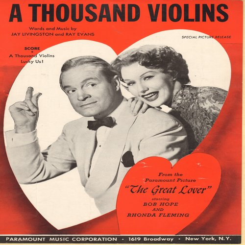 Hope, Bob - A Thousand Violins - Vintage SHEET MUSIC for the song featured in Bob Hope Film -The Great Lover- (NICE cover art!) - EX8/ - Sheet Music