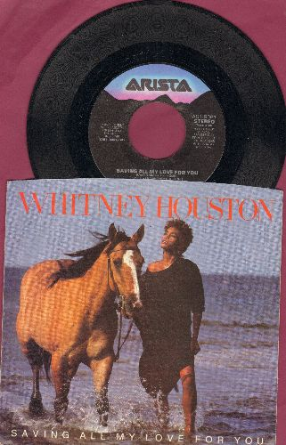 Houston, Whitney - Saving All My Love For You/All At Once (with picture sleeve) - EX8/EX8 - 45 rpm Records