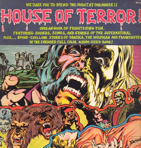 House Of Terror - House Of Terror! - Over an hour of frightening fun featuring sounds, songs and stories of the Supernatural. 2 vinyl LP records and a color comic book!  - NM9/EX8 - LP Records