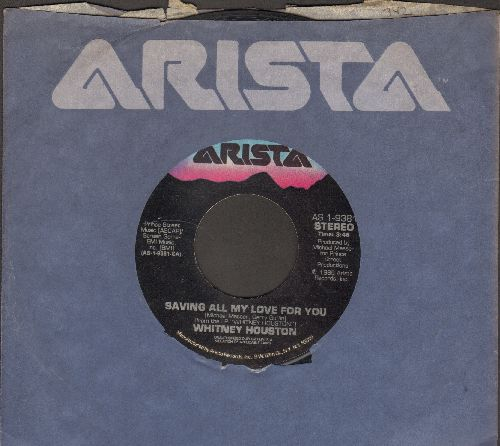 Houston, Whitney - Saving All My Love For You/All At Once (with Arista company sleeve) - VG7/ - 45 rpm Records