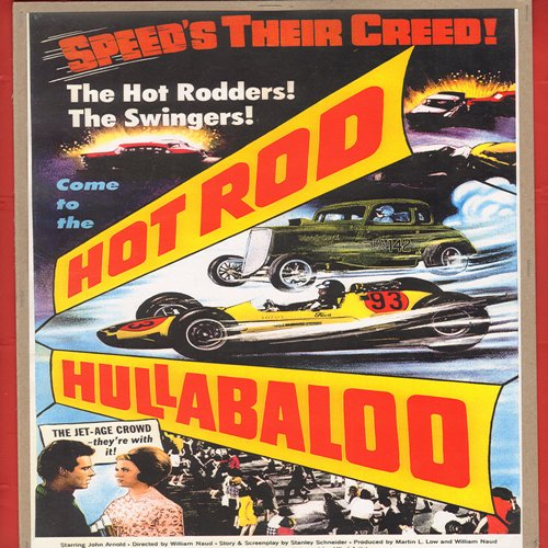 Hot-Rod Girl - Movie Poster - Hot-Rod Hullabaloo - Full Color 16 x 10.5 inch reproduced Movie Poster of the 1950s Cult Film - GREAT for framing!  - NM9/ - Poster