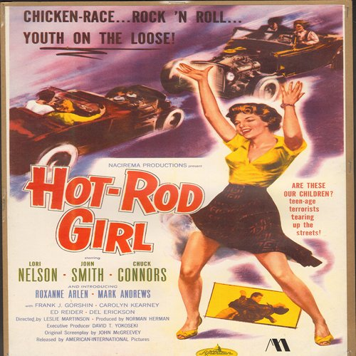 Hot-Rod Girl - Movie Poster - Hot-Rod Girl - Full Color 16 x 10.5 inch reproduced Movie Poster of the 1950s Cult Film - GREAT for framing!  - NM9/ - Poster