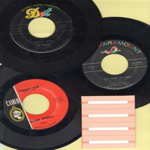 Hunter, Tab, Paul Anka, Bobby Rydell - Teen Idol 3-Pack: First issue 45s include Young Love, It's Time To Cry and Forget Him. Shipped in plain white paper sleeves with 4 blank juke box labels. - VG7/ - 45 rpm Records
