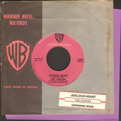 Hunter, Tab - Jealous Heart/Lonesome Road (with RARE vintage Warner Brothers company sleeve and juke box label) - NM9/ - 45 rpm Records