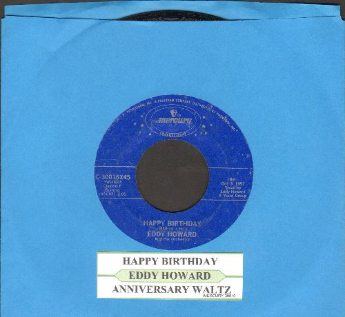 Howard, Eddy - Happy Birthday/Anniversary Waltz (re-issue with juke box label) - VG7/ - 45 rpm Records