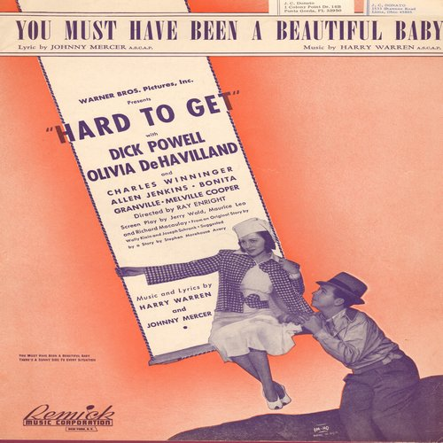 Powell, Dick - You Must Have Been A Beautiful Baby - Vintage SHEET MUSIC for the Johnny Mercer Standard, NICE cover art! (This is SHEET MUSIC, not any other kind of media!) - EX8/ - Sheet Music