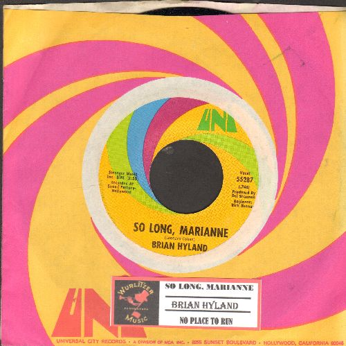 Hyland, Brian - So Long, Marianne/No Place To Run (with juke box label andUni company sleeve) - NM9/ - 45 rpm Records