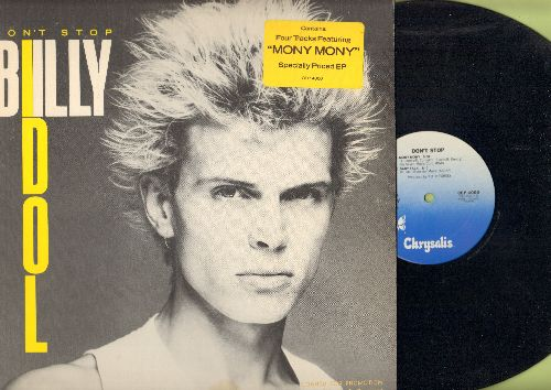 Idol, Billy - Don't Stop: Mony Mony (5:00)/Baby Talk ((3:10)/Untouchables ((3:36)/Dancing With Myself (4:50) (12 inch vinyl Maxi Single with picture cover, DJ advance pressing) - NM9/EX8 - Maxi Singles
