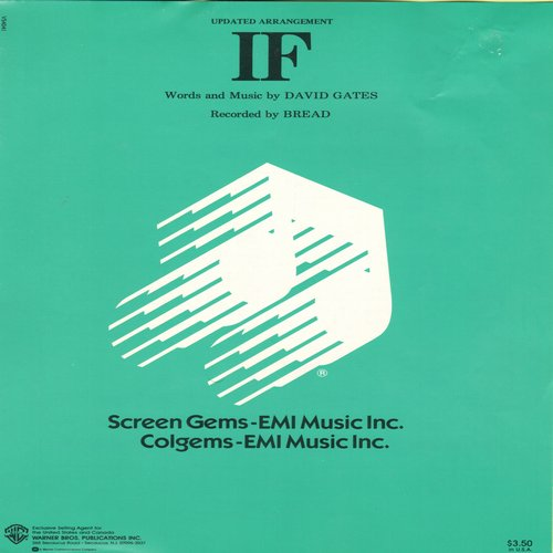 Bread - If - Vintage SHEET MUSIC for Rock Ballad made popular by Bread (This is SHEET MUSIC, NOT any ther ind of medica!) - NM9/ - Sheet Music