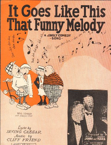 Jones, Billy & Ernest Hare - It Goes Like This That Funny Melody (Vintage SHEET MUSIC for the classic jingle comedy song) - NM9/ - Sheet Music