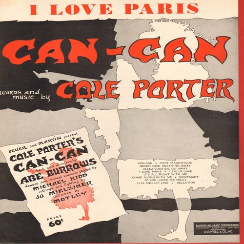Can-Can - I Love Paris - SHEET MUSIC for the Standard from Cole Porter's -Can-Can- (This is SHEET MUSIV, not any other kind of media!) - NM9/ - Sheet Music