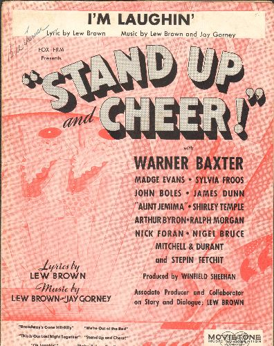 Temple, Shirley - I'm Laughin' - Vintage SHEET MUSIC for the song featured in Shirley Temple film -Stand Up And Cheer- - EX8/ - Sheet Music