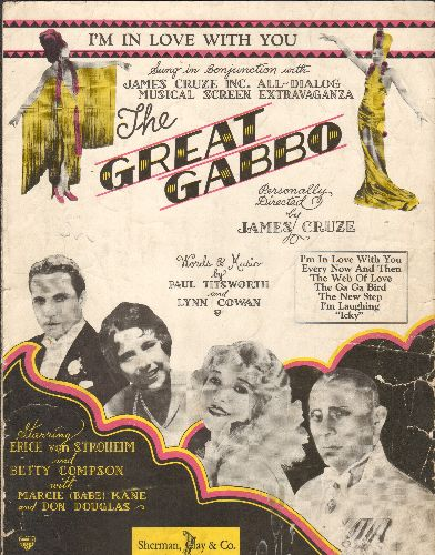Von Stroheim, Erich, Betty Compson - I'm In Love With You - Vintage SHEET MUSIC featured in film -The Great Baboo-, GREAT Movie Poster cover art! - VG6/ - Sheet Music