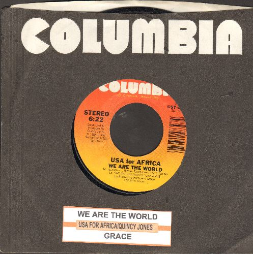 USA For Africa featuring Michael Jackson - We Are The World/Grace (All-Star Choir headed by Michael Jackson) (with juke box label and Columbia company sleeve) - EX8/ - 45 rpm Records