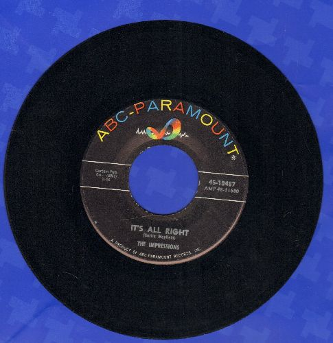 Impressions - It's All Right/You'll Want Me Back - NM9/ - 45 rpm Records