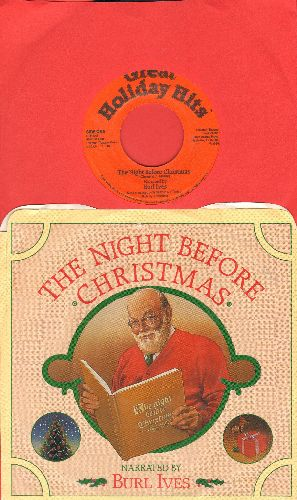 Ives, Byrl - The Night Before Christmas - Narrated by Byrl Ives (with picture sleeve) - NM9/NM9 - 45 rpm Records