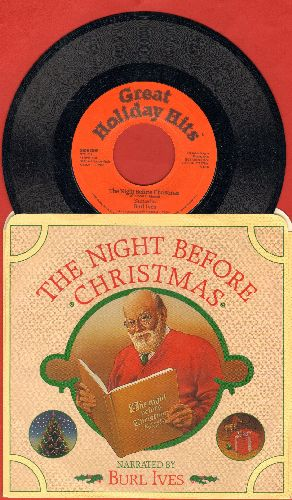 Ives, Burl - The Night Before Christmas - Narrated by Burl Ives/The Night Before Christmas (Instrumental) (with picture sleeve) - NM9/NM9 - 45 rpm Records