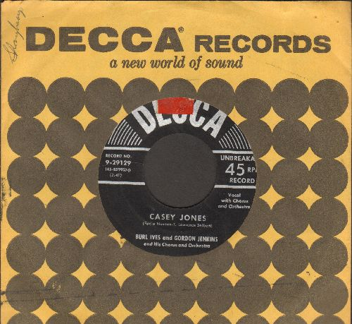 Ives, Burl  - Casey Jones/Wait For Me, Darling (with vintage Decca company sleeve) (sol) - EX8/ - 45 rpm Records