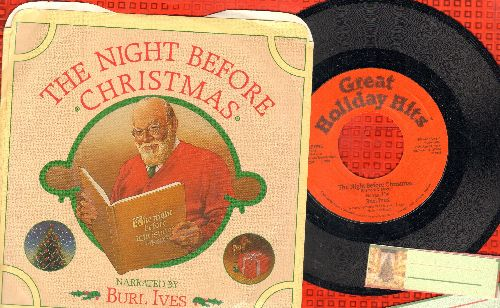 Ives, Burl - The Night Before Christmas/The Night Before Christmas (Instrumental) (with picture sleeve) - NM9/NM9 - 45 rpm Records