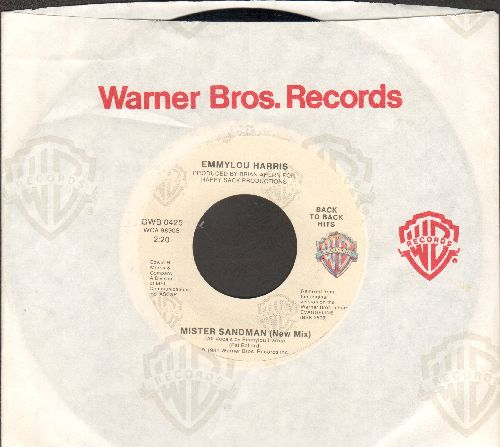 Harris, Emmylou - Mister Sandman (VERY NICE re-make of the Pre-Rock'N'Roll 50s Classic)/Tennessee Rose (re-issue and with Warner Brothers company sleeve and juke box label) - EX8/ - 45 rpm Records