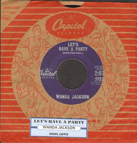 Jackson, Wanda - Let's Have A Party/Cool Love (purple label first pressing with juke box label and vintage Capitol company sleeve) - EX8/ - 45 rpm Records