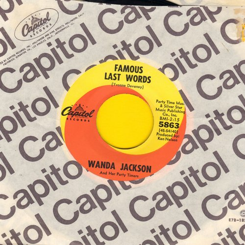 Jackson, Wanda - Famous Last Words/Both Sides Of The Line (MINT condition with vintage Capitol company sleeve) - NM9/ - 45 rpm Records