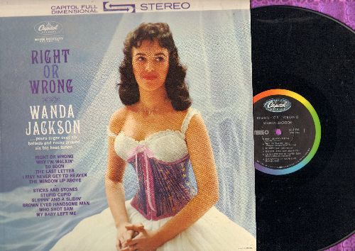 Jackson, Wanda - Right Or Wrong: Stupid Cupid, Brown Eyed Handsome Man, Slippin' And Slidin', I May Never Get To Heaven (vinyl STEREO LP record) - NM9/VG7 - LP Records