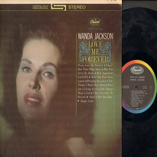 Jackson, Wanda - Love Me Forever: Pledging My Love, Funny How Tie Slips Away, Little Things Mean A Lot, What Am I Living For, Have You Ever Been Lonely, Since I Met You Baby (Vinyl STEREO LP record) - NM9/EX8 - LP Records