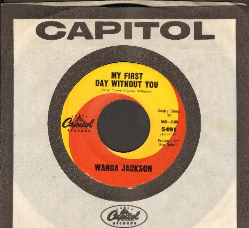 Jackson, Wanda - My First Day Without You/Send Me No Roses (with vintage Capitol company sleeve) - EX8/ - 45 rpm Records