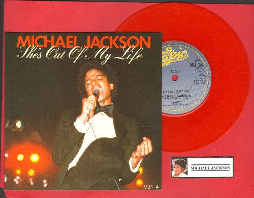 Jackson, Michael - She's Out Of My Life/Push Me Away (RED VINYL British Pressing with small spindle hole, with picture sleeve) - EX8/NM9 - 45 rpm Records