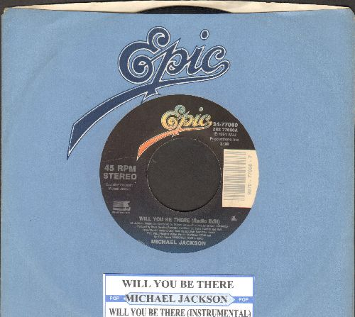 Jackson, Michael - Will You Be There/Will You Be There (Instrumental) (with juke box label and company sleeve) - EX8/ - 45 rpm Records