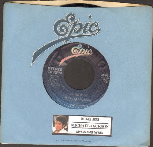 Jackson, Michael - Billie Jean/Can't Get Outta The Rain (with Epic company sleeve and juke box label) - NM9/ - 45 rpm Records