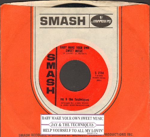 Jay & The Techniques - Baby Makes Your Own Sweet Music/Help Yourself To All My Lovin' (with juke box label and Smash company sleeve) - EX8/ - 45 rpm Records