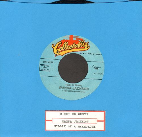 Jackson, Wanda - Right Or Wrong/In The Middle Of A Heartache (double-hit re-issue with juke box label) - NM9/ - 45 rpm Records
