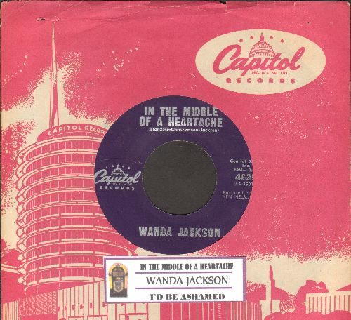 Jackson, Wanda - In The Middle Of A Heartache/I'd Be Ashamed (purple label early issue with juke box label and vintage Capitol company sleeve)  - NM9/ - 45 rpm Records