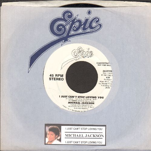 Jackson, Michael - I Just Can't Stop Loving You (double-A-sided DJ advance pressing with juke box label and Epic company sleeve) - NM9/ - 45 rpm Records