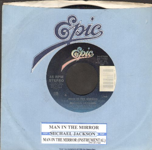 Jackson, Michael - Man In The Mirror/Man In The Mirror (Instrumental) (with juke box label and Epic company sleeve)) - EX8/ - 45 rpm Records