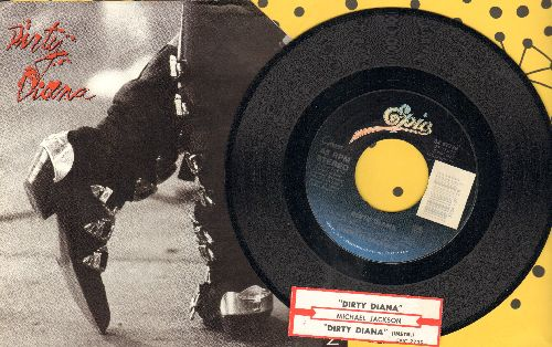 Jackson, Michael - Dirty Diana/Dirty Diana (Instrumental) (with picture sleeve and juke box label)(picture sleeve has upper right corner cut off) - NM9/VG7 - 45 rpm Records
