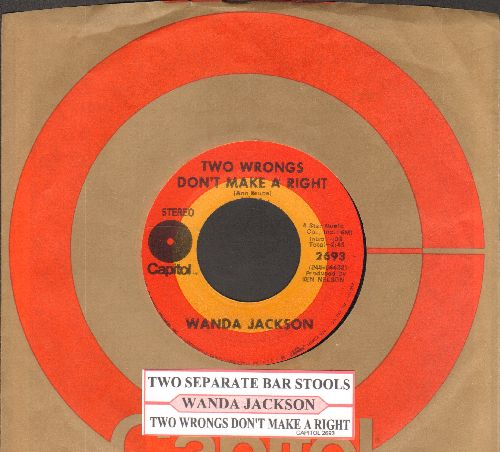 Jackson, Wanda - Two Wrongs Don't Make A Right/Two Separate Bar Stools (with juke box label and Capitol company sleeve) - NM9/ - 45 rpm Records
