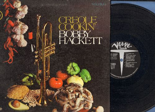 Hackett, Bobby - Creole Cookin': High Society, Fidgety Feet, When The Saints Go Marching In< Basin Street Blues (Vinyl STEREO LP record, gate-fold cover, bb in lower left cover) - NM9/EX8 - LP Records